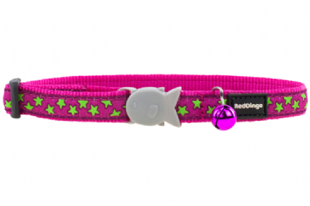 Red Dingo Lime Stars On Hot Pink Cat Collar